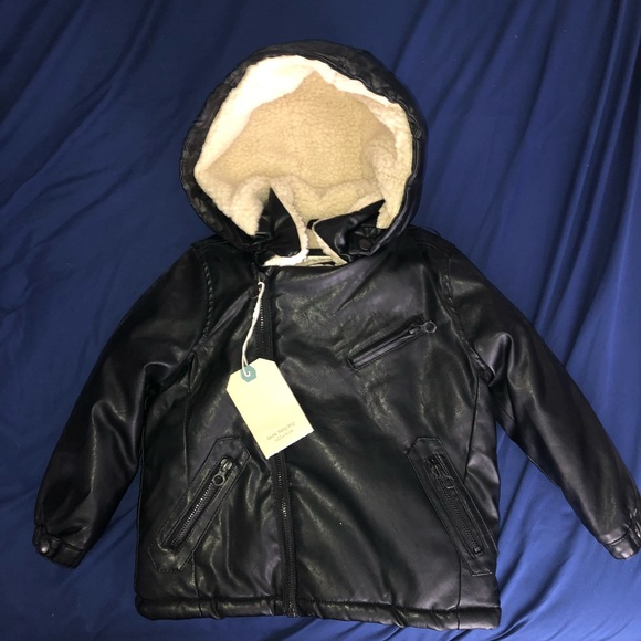 67540422 Zara Jackets & Coats | Baby Boy Black Faux Leather Sherpa Jacket 23 ...